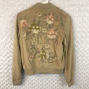 Bagatelle Floral Embroidered Faux Suede Jacket